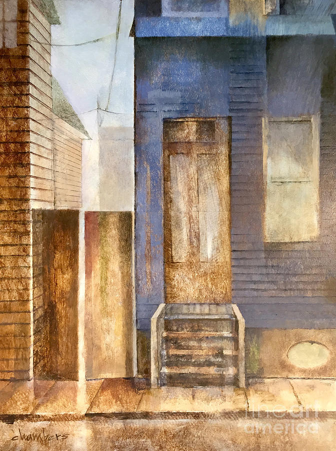 Mid City Painting - Blue Shotgun House in Mid City by Mike Chambers