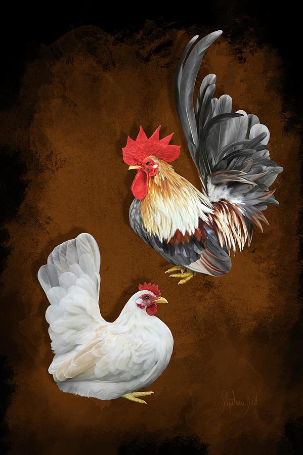Chickens Digital Art - Blue Silver Wheaten Japanese Bantams Or Chabos by Sigrid Van Dort