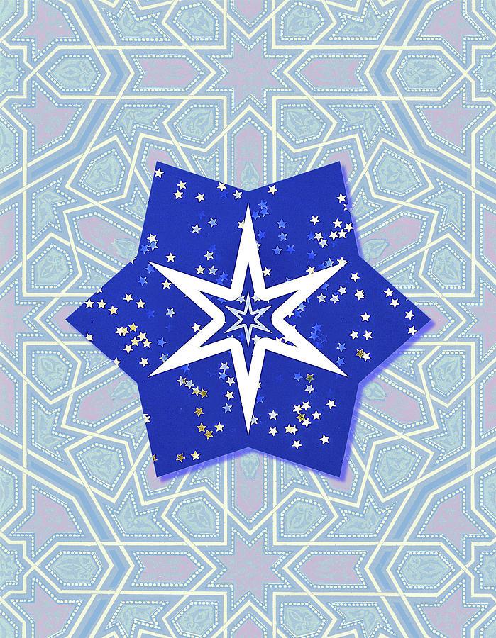 Blue Stars Vintage Graphic Portrait Digital Art