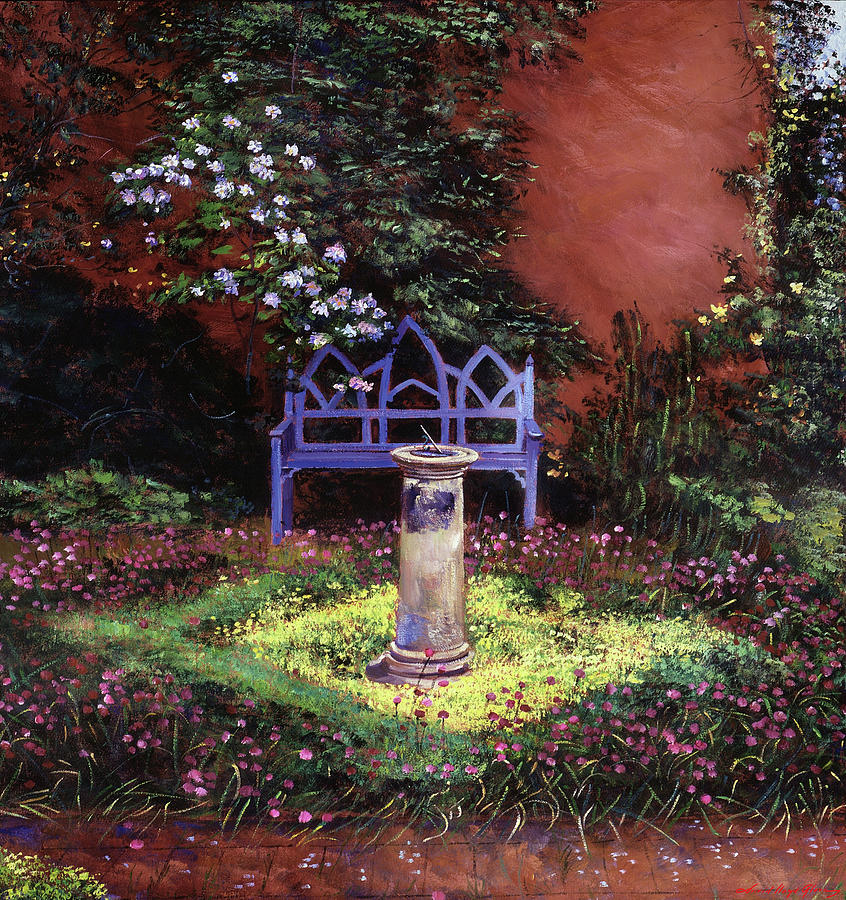 Blue Sunbench And Sundial Painting
