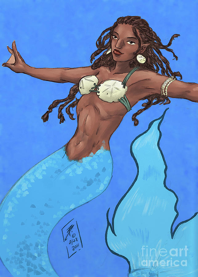 Africa Painting - Blue-Tailed African Mermaid by Brandy Woods