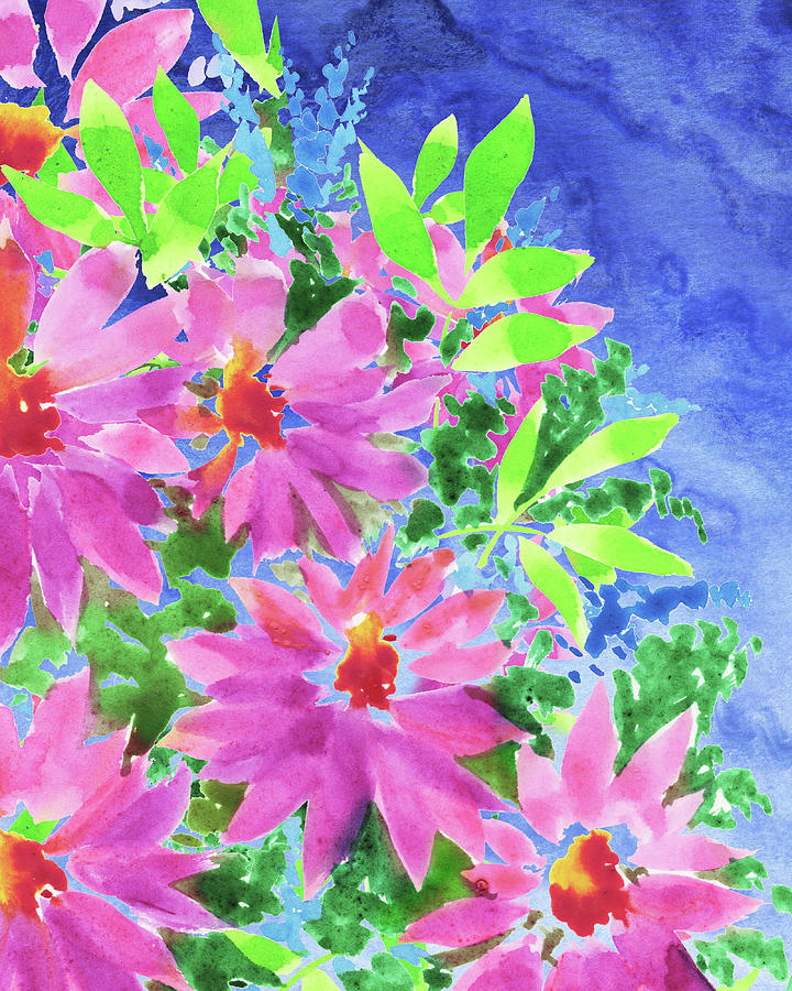 Blue Watercolor Sky In The Pink Flowers Garden Painting