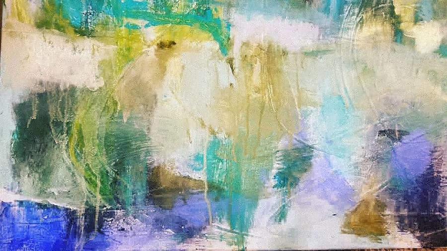 Abstract Painting - Blue, White, Gold  by Patricia Byron