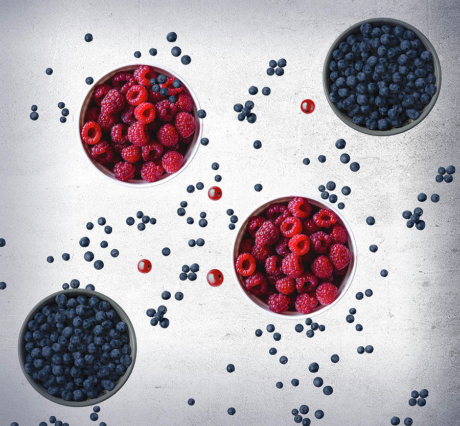 Blueberries And Raspberries by Johanna Hurmerinta