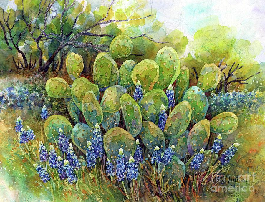 Bluebonnets And Cactus 2-pastel Colors Painting