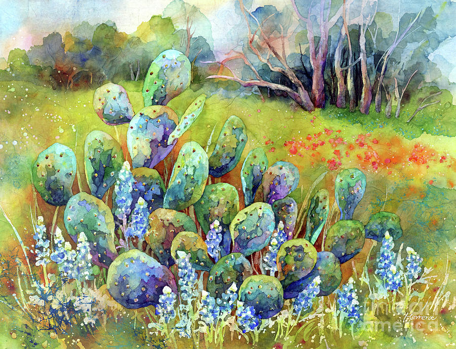 Bluebonnets And Cactus-pastel Colors Painting