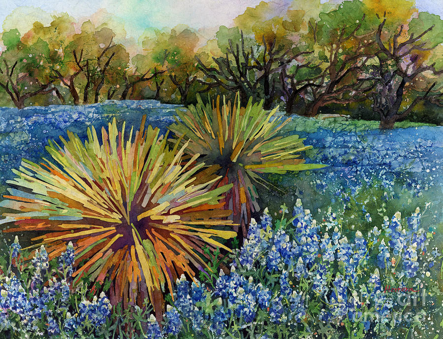 Cactus Painting - Bluebonnets and Yucca by Hailey E Herrera