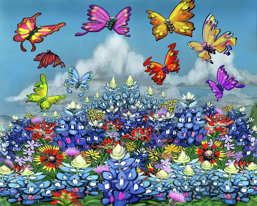 Bluebonnets Wildflowers And Butterflies Digital Art