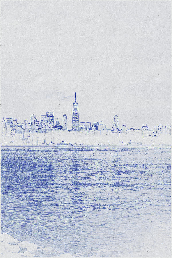 Blueprint Drawing Of Chicago, Cityscape Of Contemporary Urban City Under Picturesque Sunset Sky Digital Art