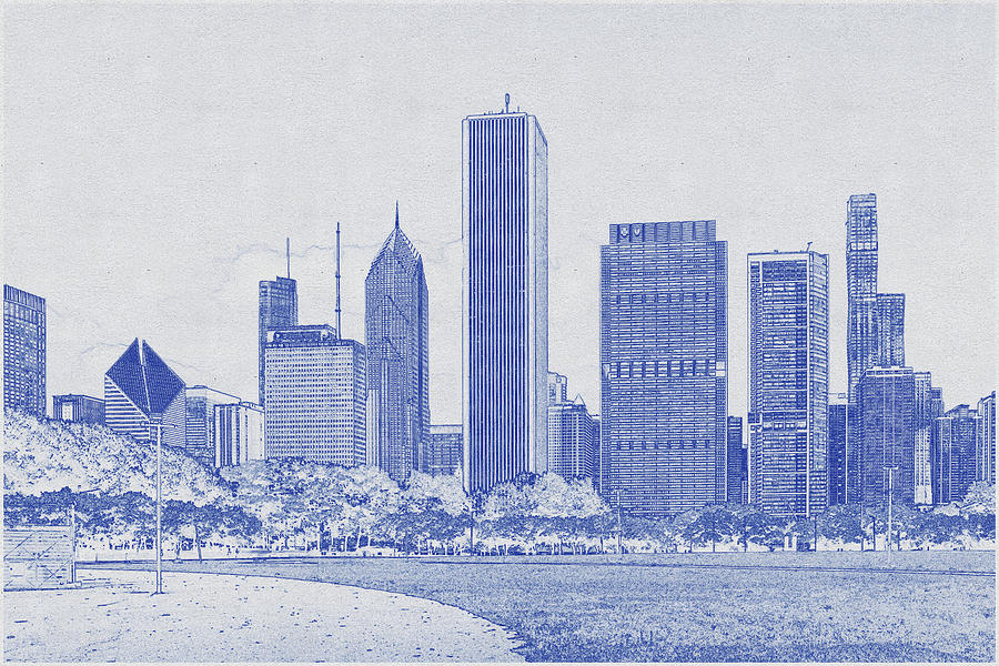 Blueprint Drawing Of Chicago Skyline Digital Art