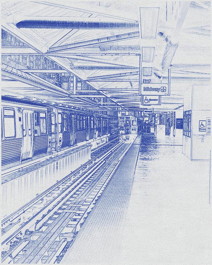 Blueprint Drawing Of Chicago Skyline, Illinois, Usa - 31 Digital Art