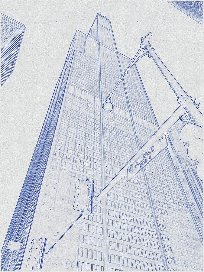 Blueprint Drawing Of Chicago Skyline, Illinois, Usa - 36 Digital Art
