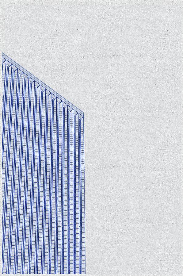 Blueprint Drawing Of Chicago Skyline, Illinois, Usa - 37 Digital Art