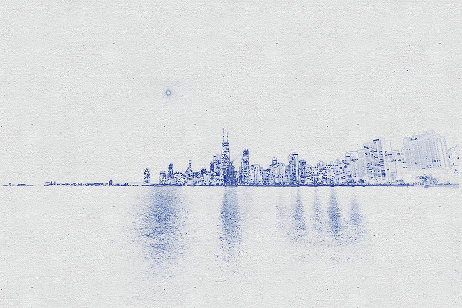 Blueprint Drawing Of Chicago Skyline, Illinois, Usa - 38 Digital Art