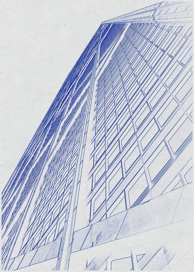 Blueprint Drawing Of Chicago Skyline, Illinois, Usa - 39 Digital Art