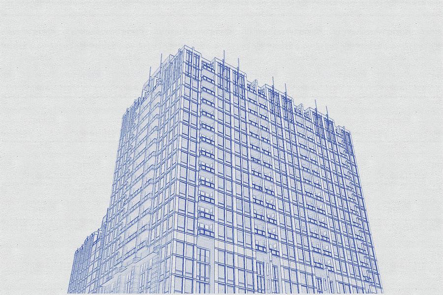 Blueprint Drawing Of Chicago Skyline, Illinois, Usa - 41 Digital Art