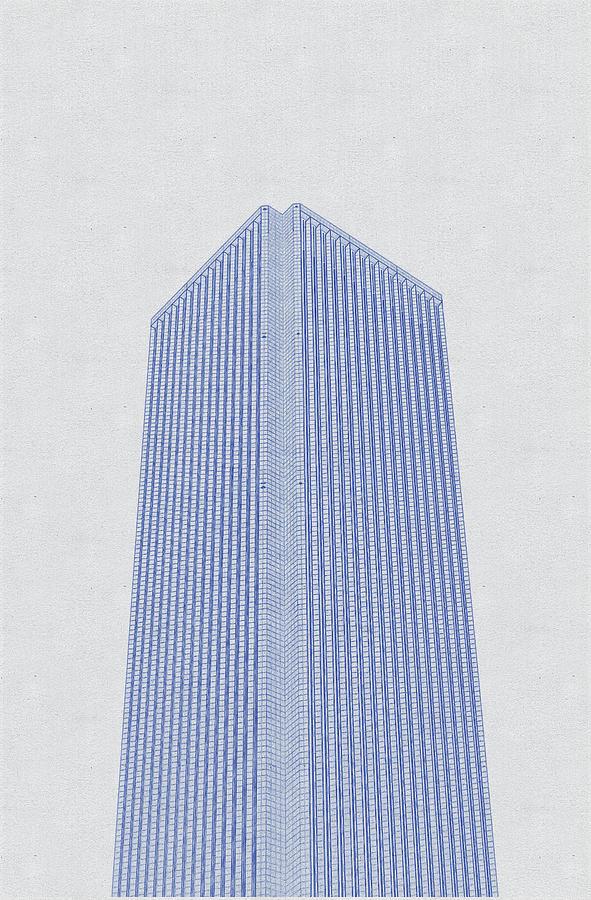 Blueprint Drawing Of Chicago Skyline, Illinois, Usa - 42 Digital Art