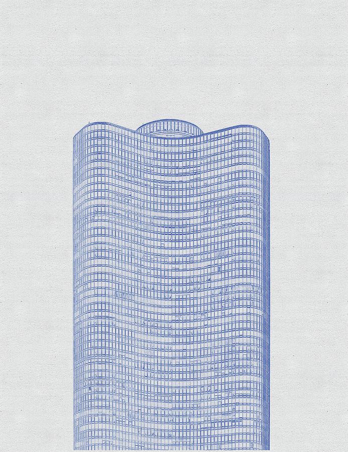 Blueprint Drawing Of Chicago Skyline, Illinois, Usa - 43 Digital Art