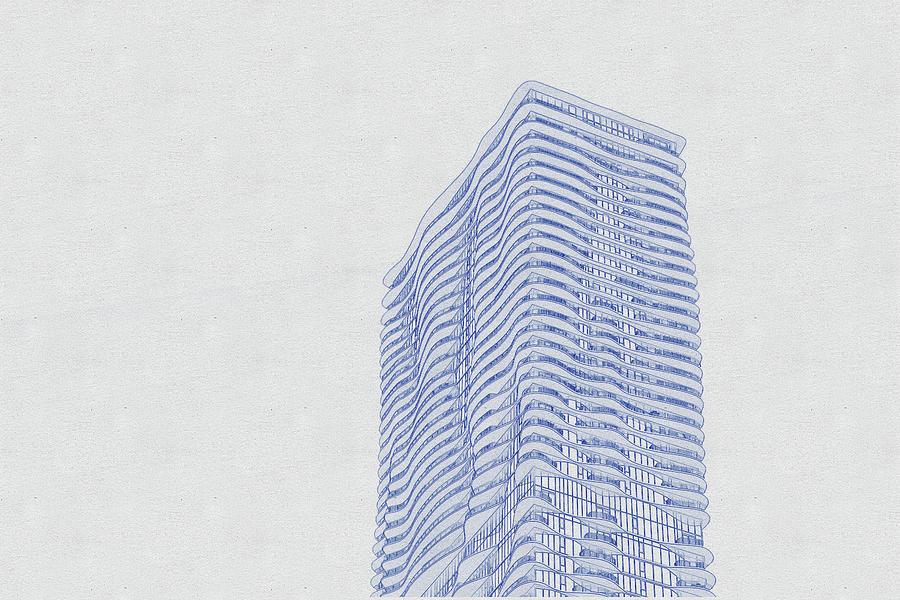 Blueprint Drawing Of Chicago Skyline, Illinois, Usa - 45 Digital Art