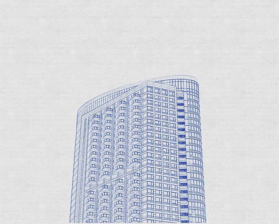 Blueprint Drawing Of Chicago Skyline, Illinois, Usa - 46 Digital Art