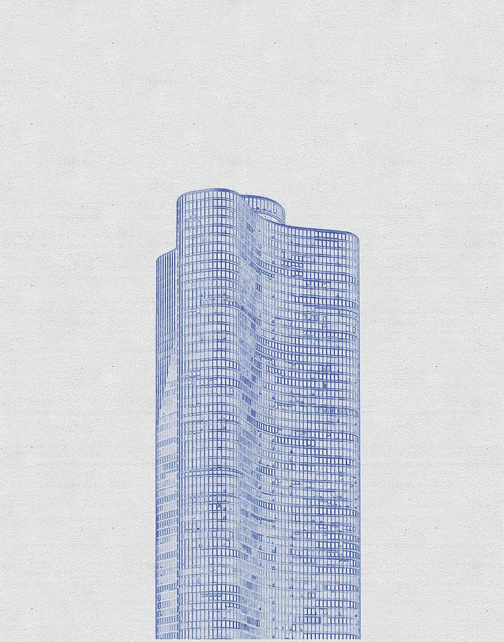 Blueprint Drawing Of Chicago Skyline, Illinois, Usa - 47 Digital Art