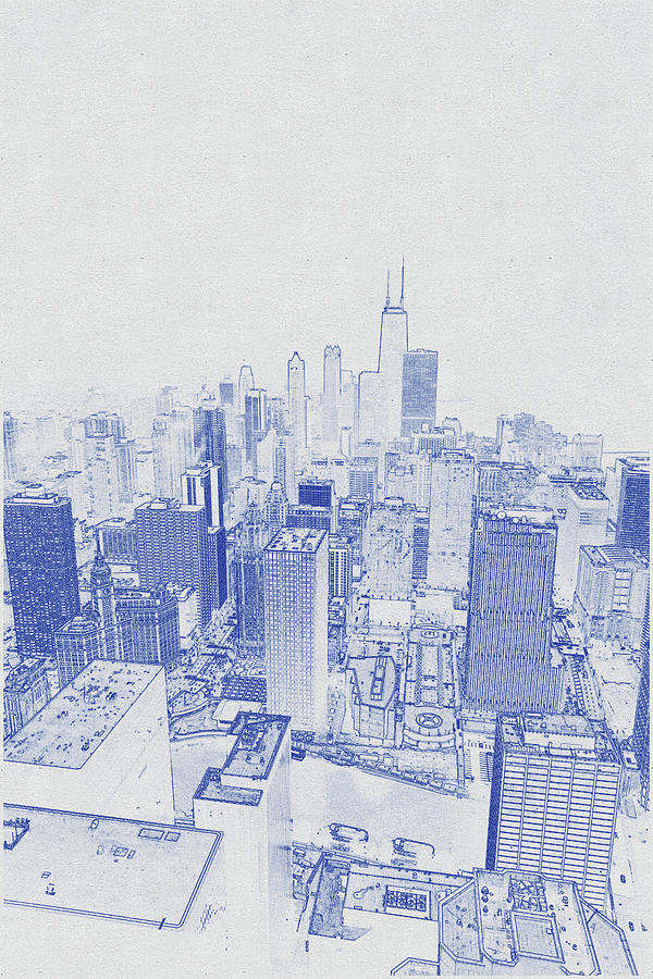 Blueprint Drawing Of Chicago Skyline, Illinois, Usa - 48 Digital Art