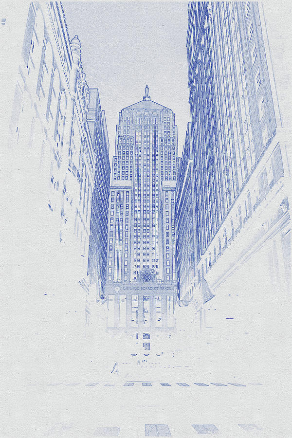Blueprint Drawing Of Chicago Skyline, Illinois, Usa - 50 Digital Art