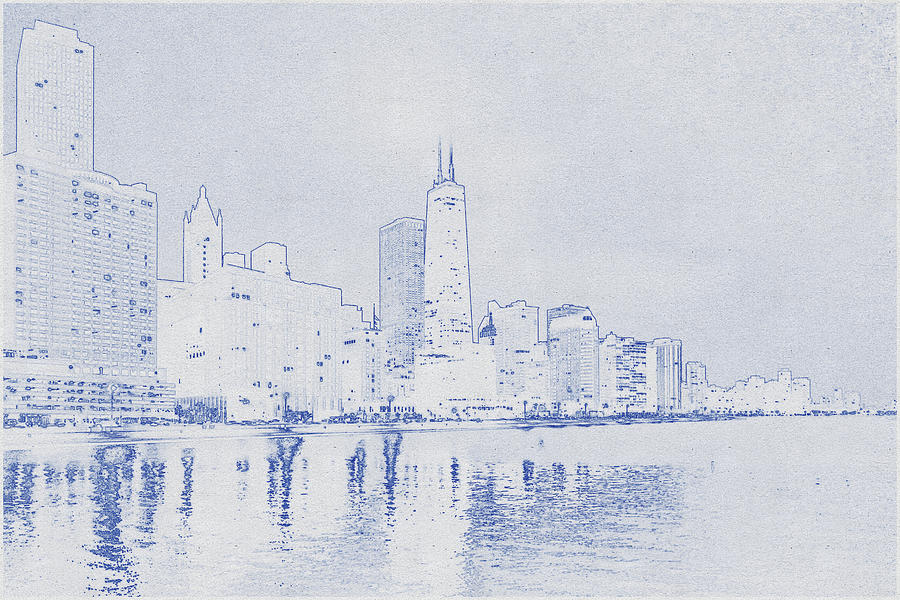 Blueprint drawing of Chicago, United States 4 Digital Art by Celestial Images