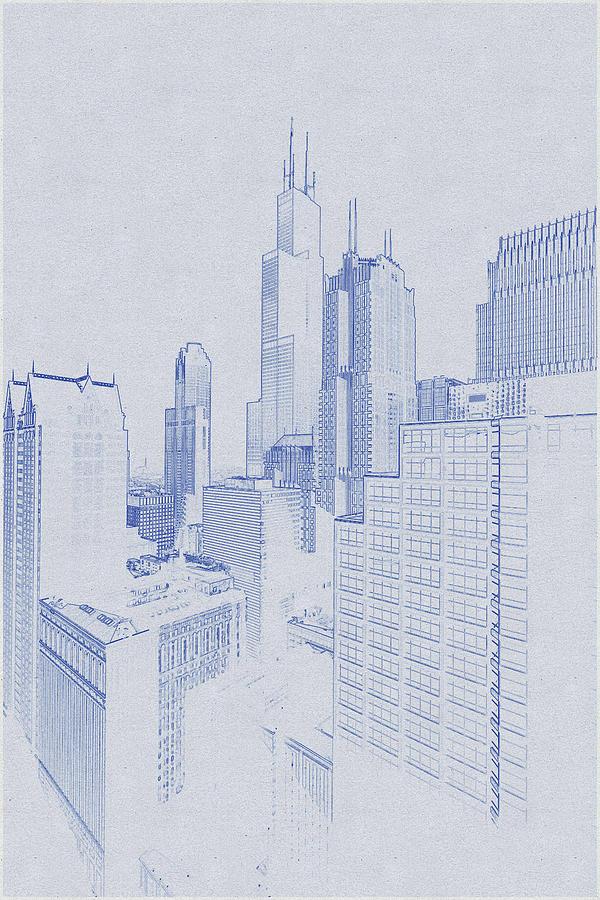 Blueprint Drawing Of Chicago, United States 5 Digital Art