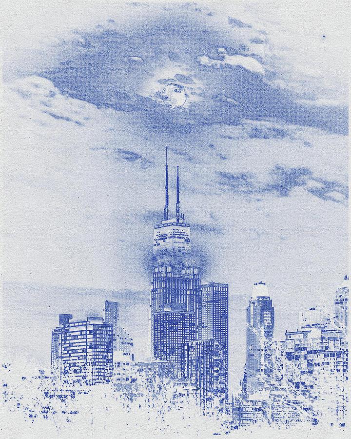 Blueprint Drawing Of Chicago, United States 6 Digital Art