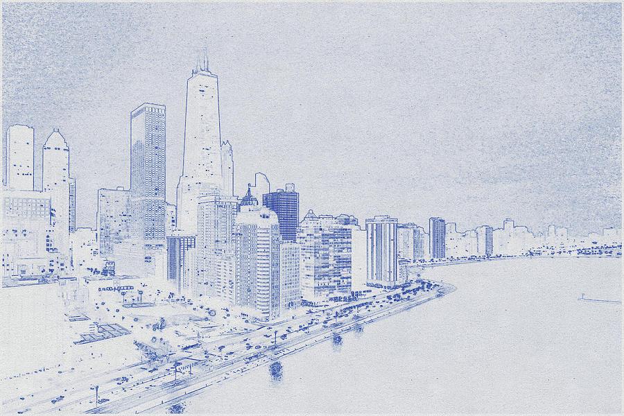 Blueprint Drawing Of Chicago, United States 8 Digital Art