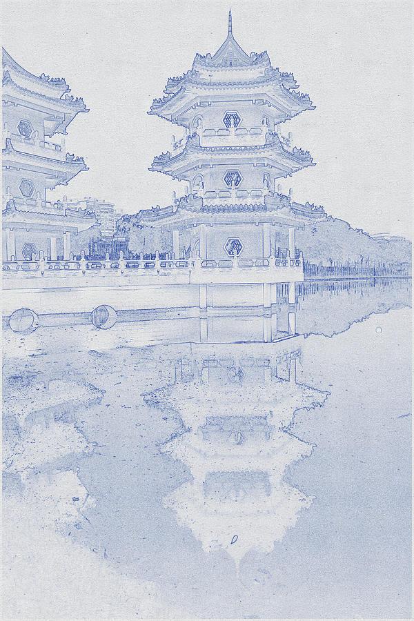 Blueprint Drawing Of Chinese Garden In Singapore Digital Art