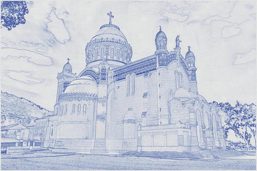 Blueprint Drawing Of Church In Algeria Digital Art