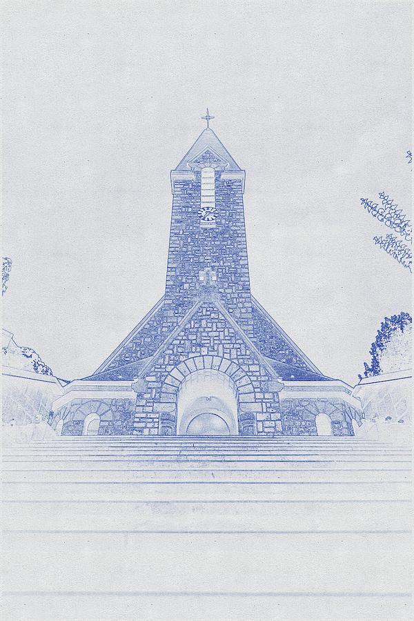 Blueprint Drawing Of Church In Paris Digital Art