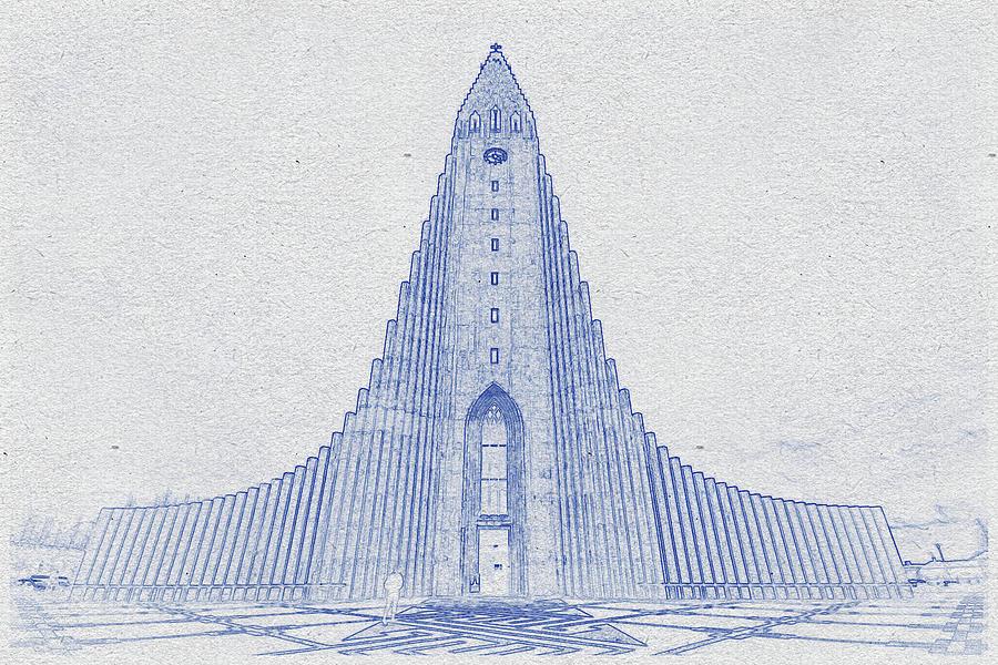 Blueprint Drawing Of Church Of Hallgrimur, Iceland Digital Art
