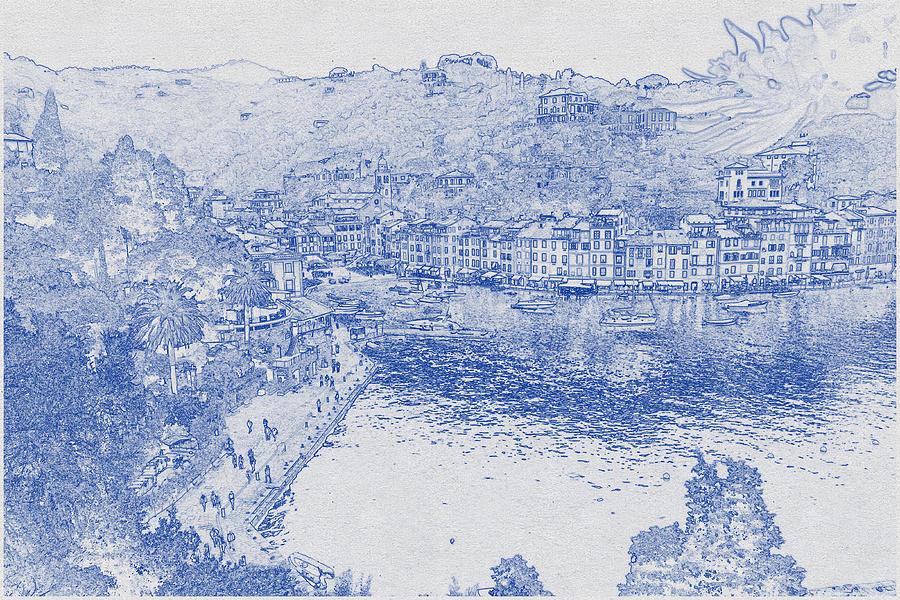 Blueprint Drawing Of Cinque Terre 2 Digital Art