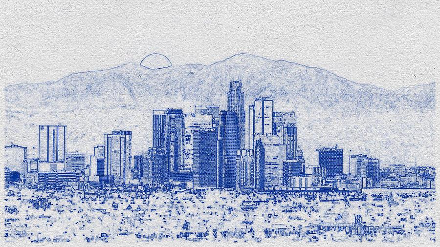 Blueprint Drawing Of Cityscape 21 Digital Art