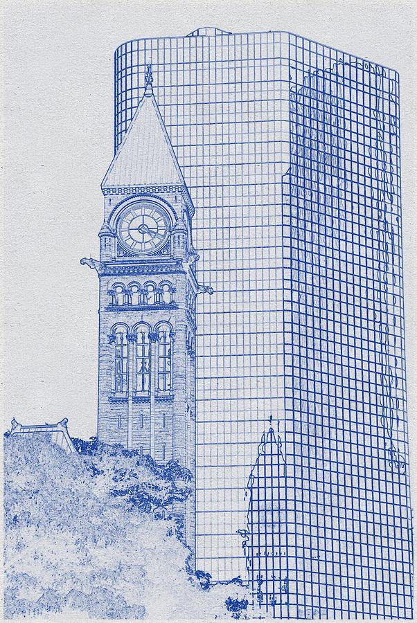 Blueprint Drawing Of Crystal Glass High Rise Building Digital Art