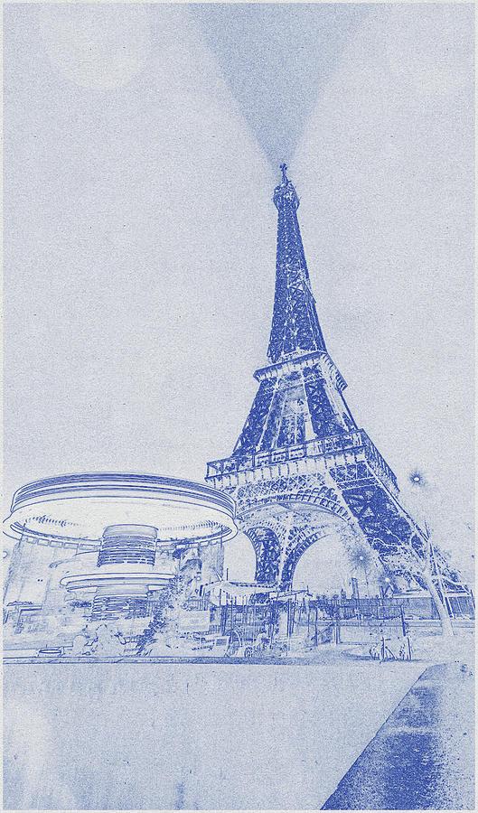 Blueprint Drawing Of Eiffel Tower, Paris, France 2 Digital Art