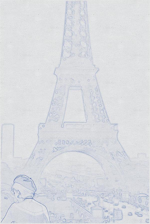 Blueprint Drawing Of Eiffel Tower, Paris, France_0002 Digital Art