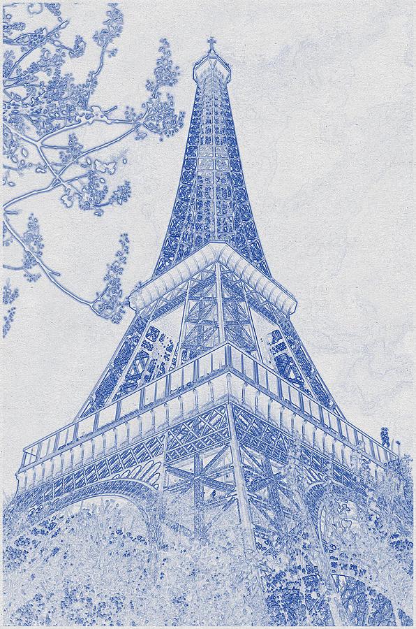 Blueprint Drawing Of Eiffel Tower, Paris_0006 Digital Art