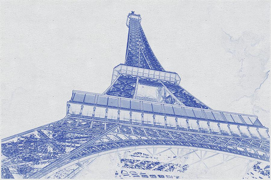 Blueprint Drawing Of Eiffel Tower, Paris_0007 Digital Art