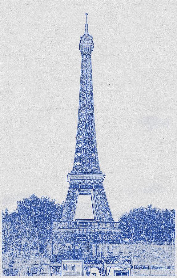 Blueprint Drawing Of Eiffel Tower, Paris_0011 Digital Art
