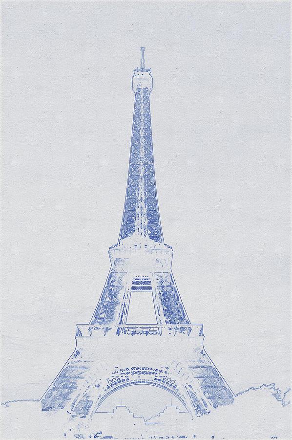 Blueprint Drawing Of Eiffel Tower_0001 Digital Art