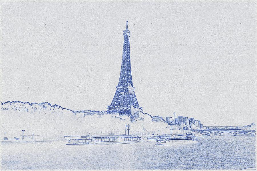 Blueprint Drawing Of Eiffel Tower_0002 Digital Art