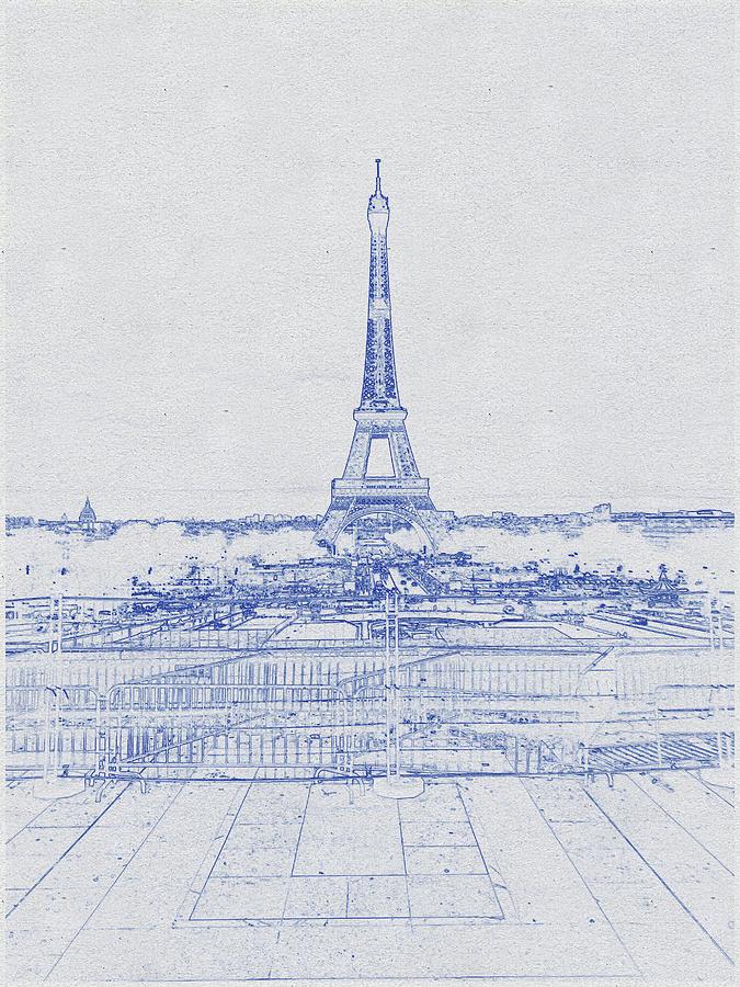 Blueprint Drawing Of Eiffel Tower_0007 Digital Art