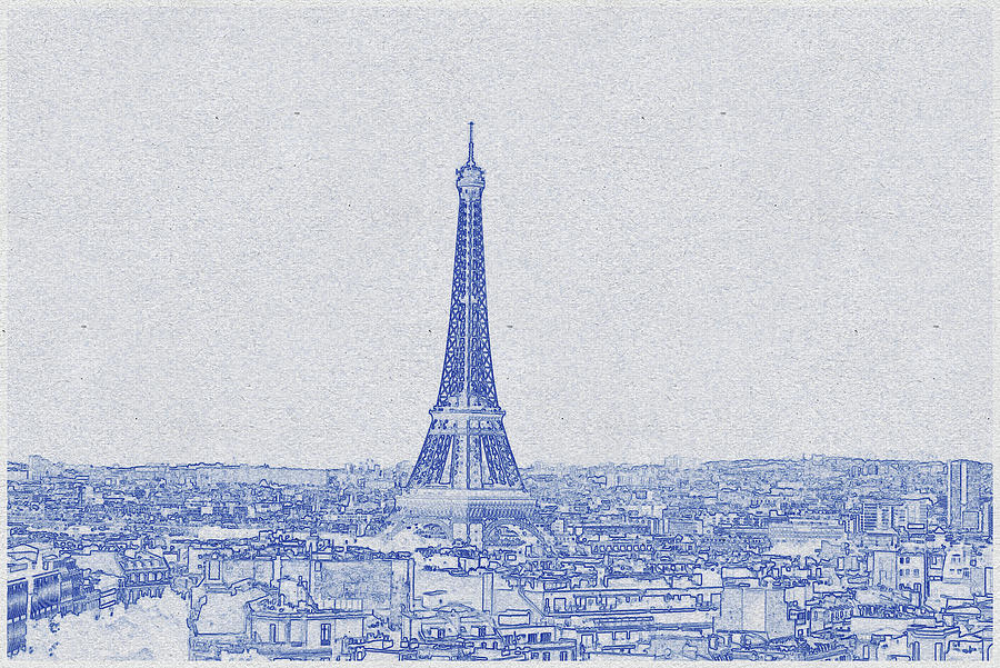 Blueprint drawing of Eiffel Tower_0008 Digital Art by Celestial Images