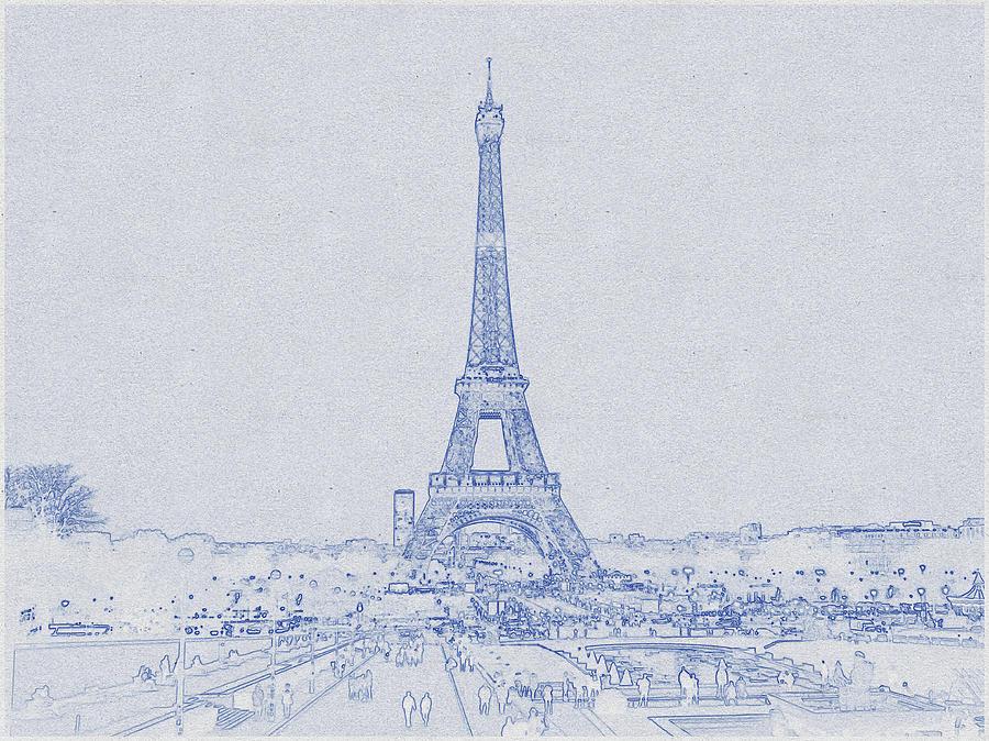 Blueprint Drawing Of Eiffel Tower_0013 Digital Art
