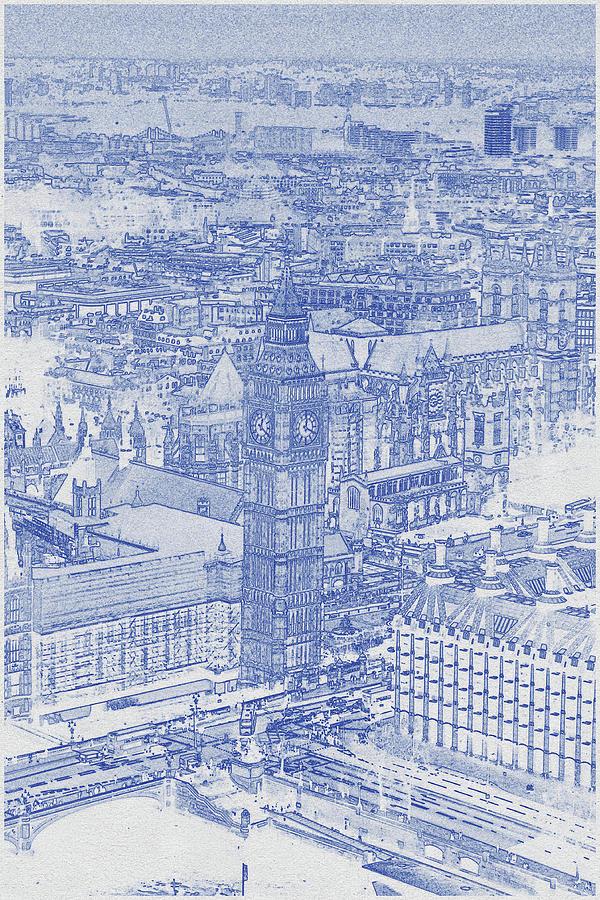 Blueprint Drawing Of Elizabeth Tower, London Digital Art