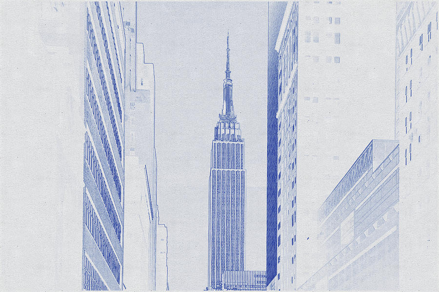 Blueprint Drawing Of Empire State Building In City Digital Art